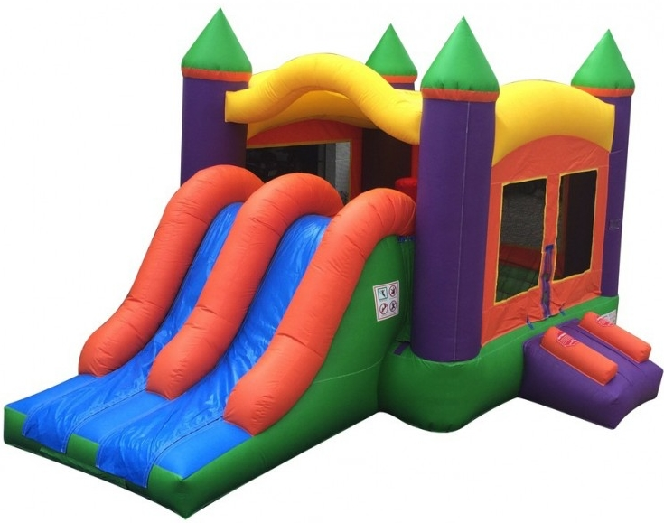 19' x 12' Dual Slide Rainbow Kids Combo Bounce House